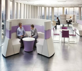 Purple and Cream Acoustic Modular Pod Seating