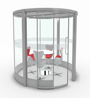 Grey Circular Free standing Office Pods