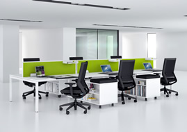 Soft tone Bench Desking Furniture, soft seating and privacy screening